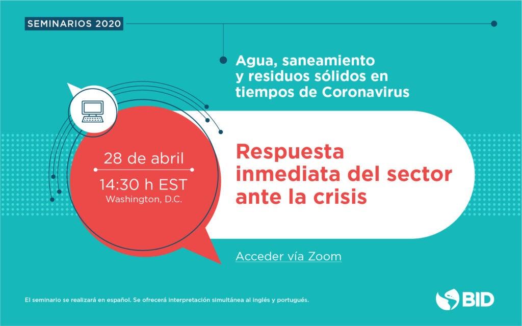 Juntos contra el coronavirus: webinars de agua, saneamiento y residuos sólidos
