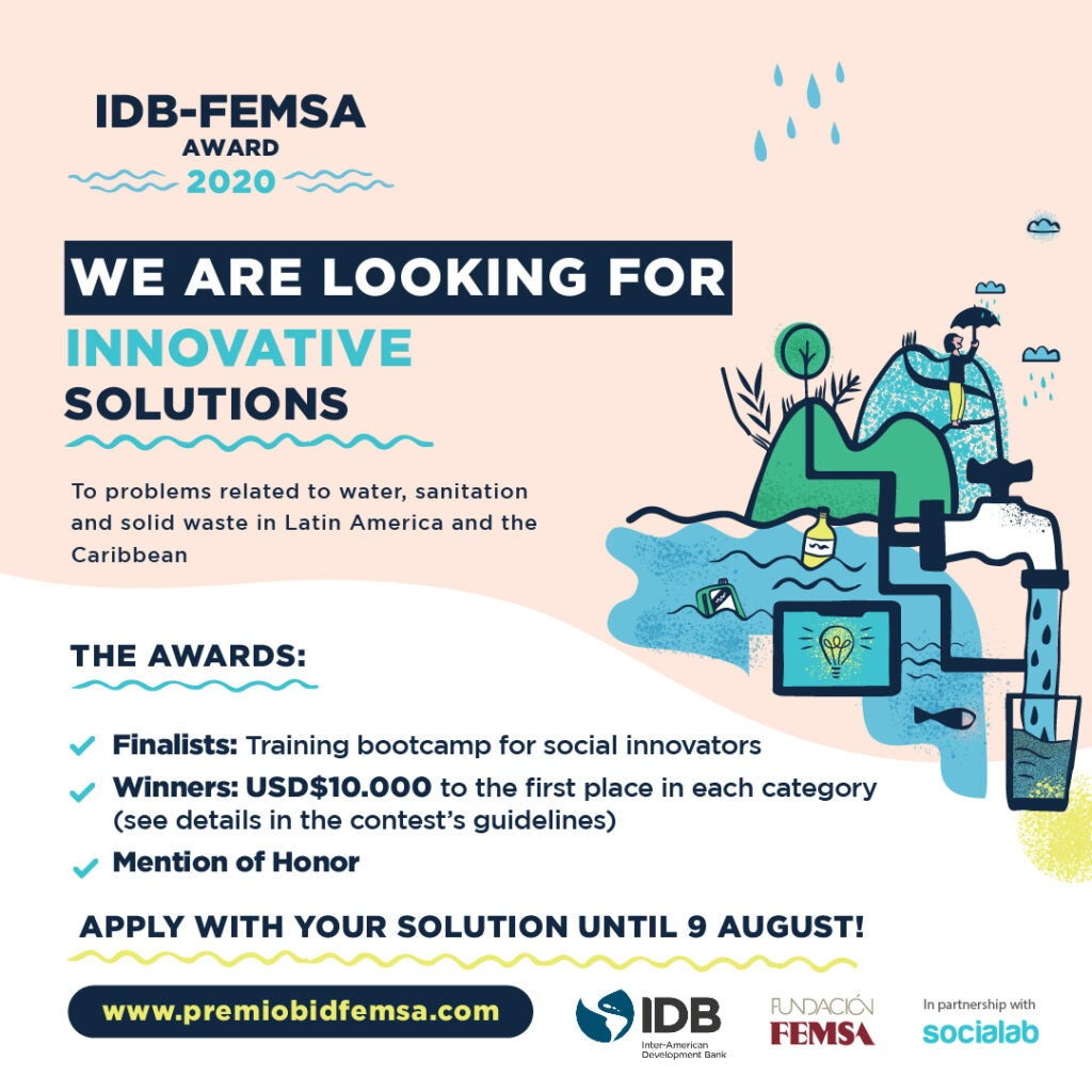 BID-FEMSA 2020 Award: calling out innovations in water, sanitation and solid waste management