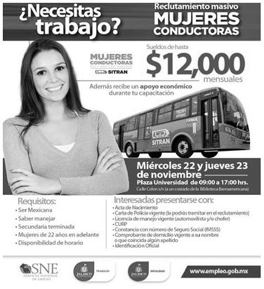 Anúncio de trabalho para mulheres motoristas de ônibus no México