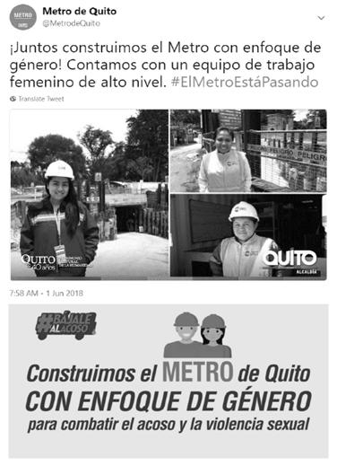 Anúncio laboral para mulheres nas obras do metrô em Quito