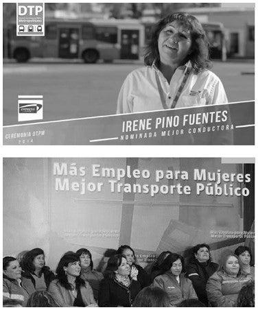 Foto mostra mulheres que trabalham no setor de transporte pública em Santiago