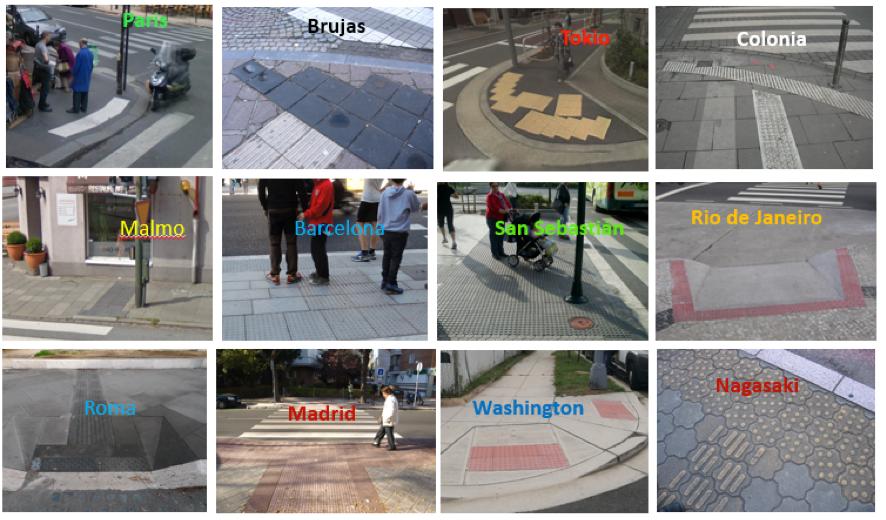 Los pavimentos podotáctiles se utilizan en muchas ciudades del mundo, pero no hay unidad de criterio sobre su colocación y características. Fuente: Acceplan