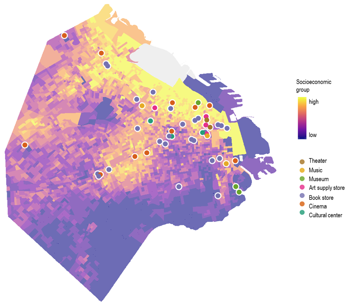 Fig. 3 Dots with the cultural offer versus the socioeconomic level on the map, 2010 census.