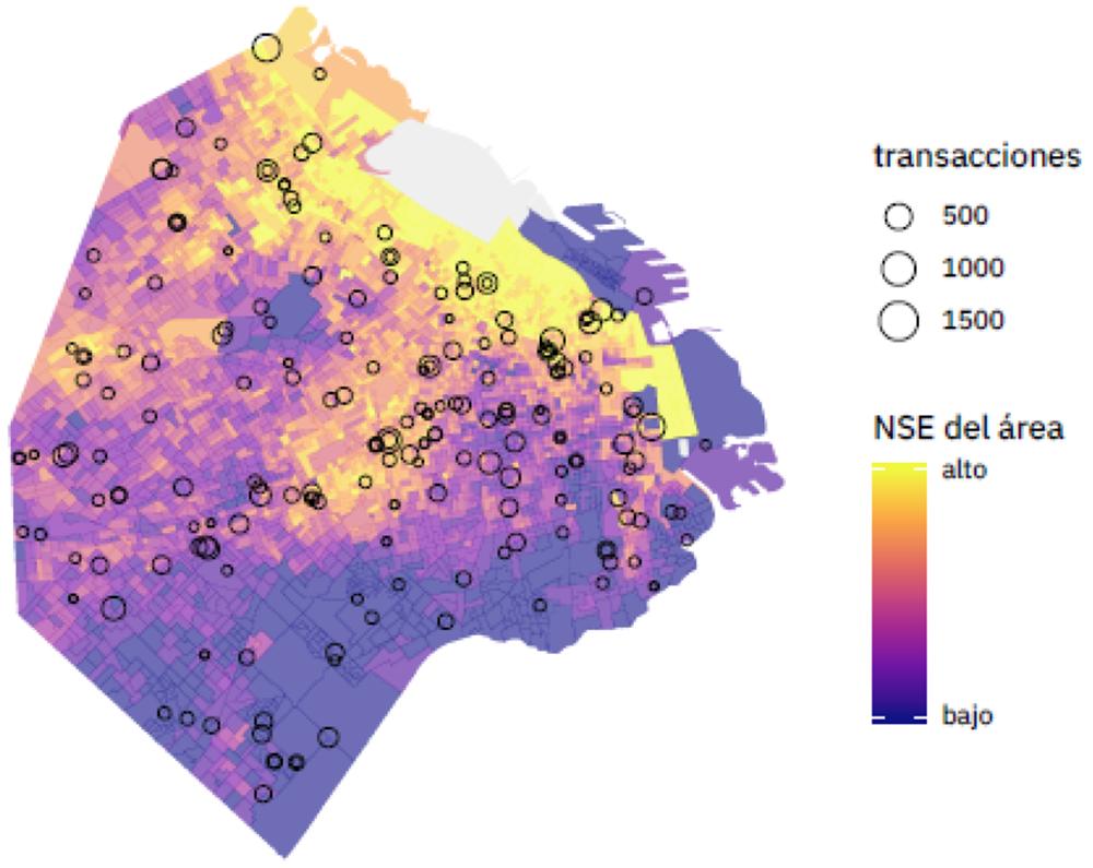 Fig.4: Ejemplo de resultados de análisis, ubicación de escuelas con beneficiarios activos por nivel socioeconómico (NSE).