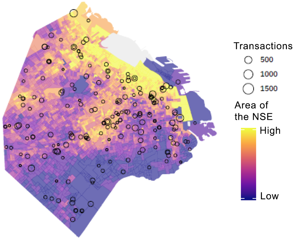 Fig. 4: Example of the results, location of schools with active users by socioeconomic group (NSE).
