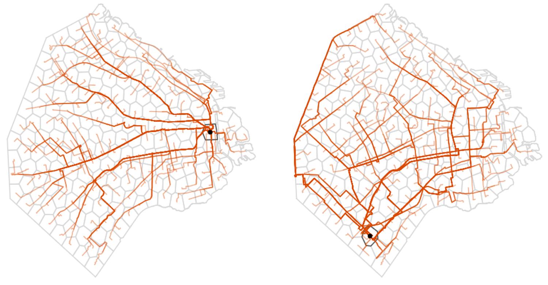 Fig.5. Ejemplos de las rutas en transporte público desde celdas con alta y baja conectividad respecto al resto de la ciudad.