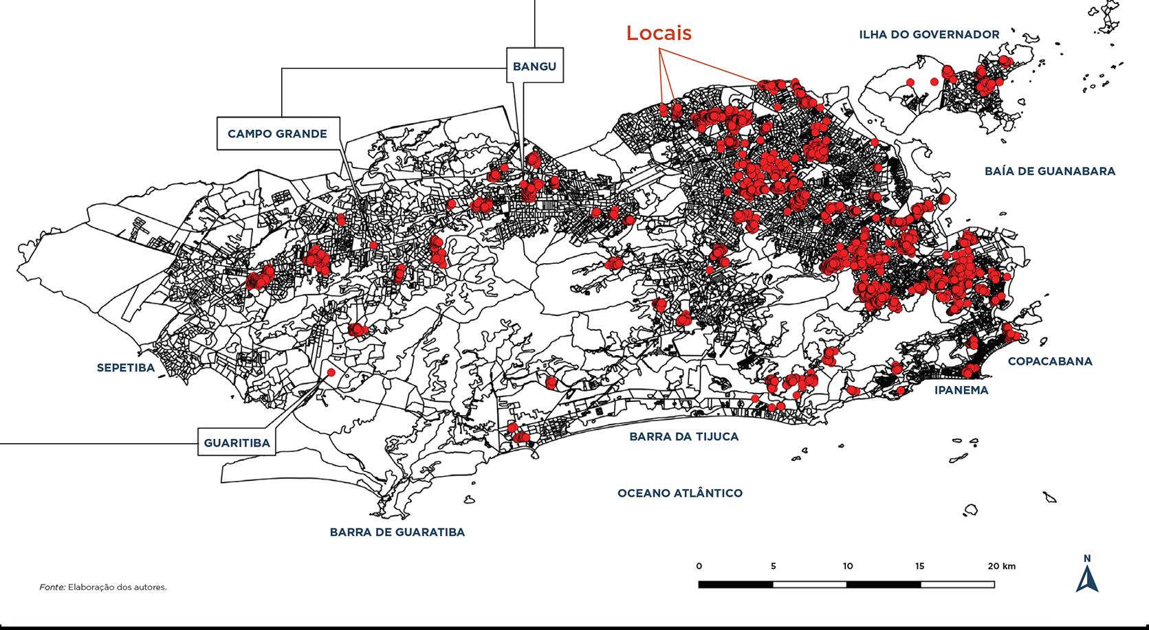 Locais de Favela Bairro II (2000–2008). Fonte: Elaboração do autor.
