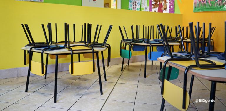 aula de primaria vacía con sillas dadas vuelta
