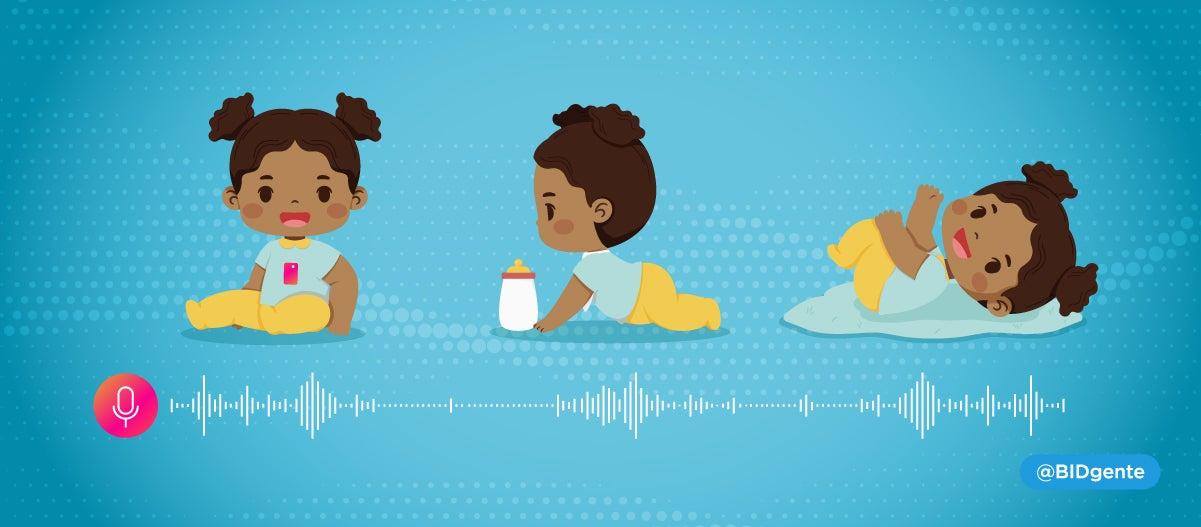 Voz de un bebé es grabada mientras juega