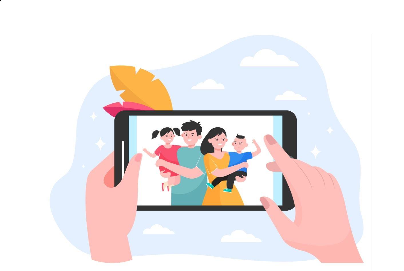 Visitadora entrega servicios infantiles a familia vía un teléfono inteligente