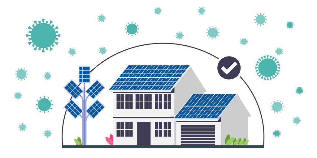 Ilustración con casa y fuentes de energía