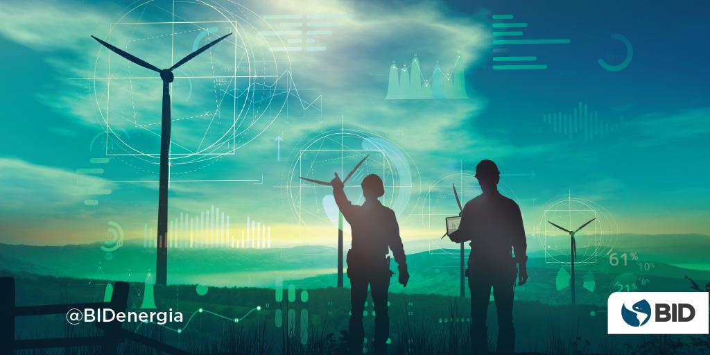 Hombres senalando imagen digital de datos-eólicas y solar