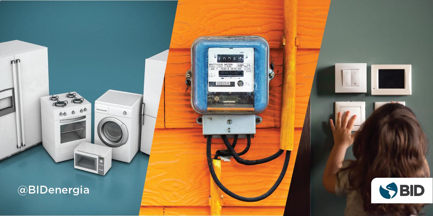 Tres imágenes: electrodomésticos, medidor, calefacción