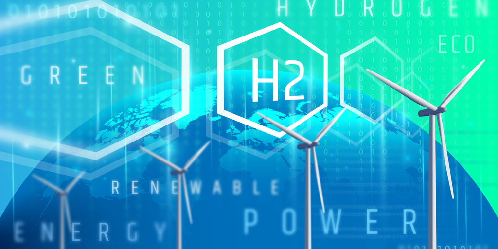 Green Hydrogen blue background and wind power