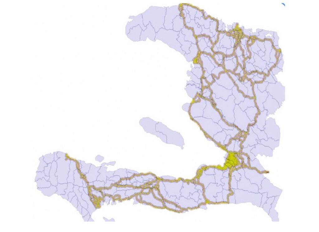 Map of Main Roads in Haiti Using Mobile Phone Data