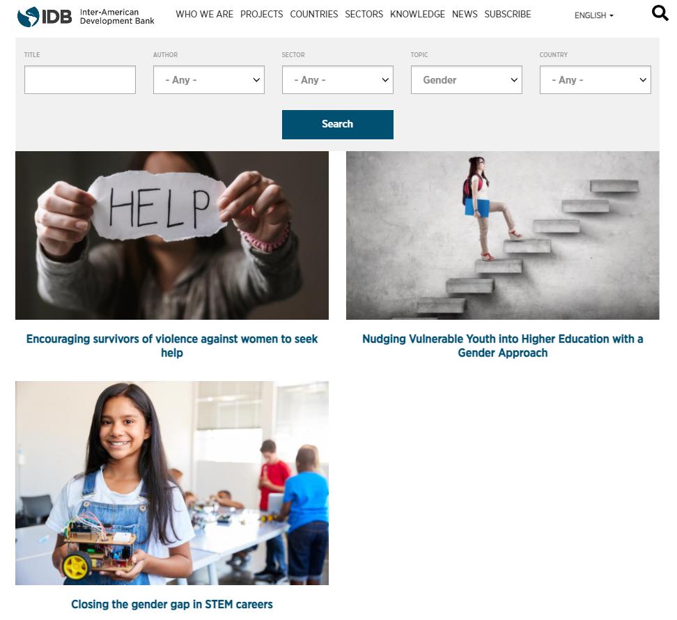 Screen Capture of the Repository of IDB Behavioral Economics Interventions