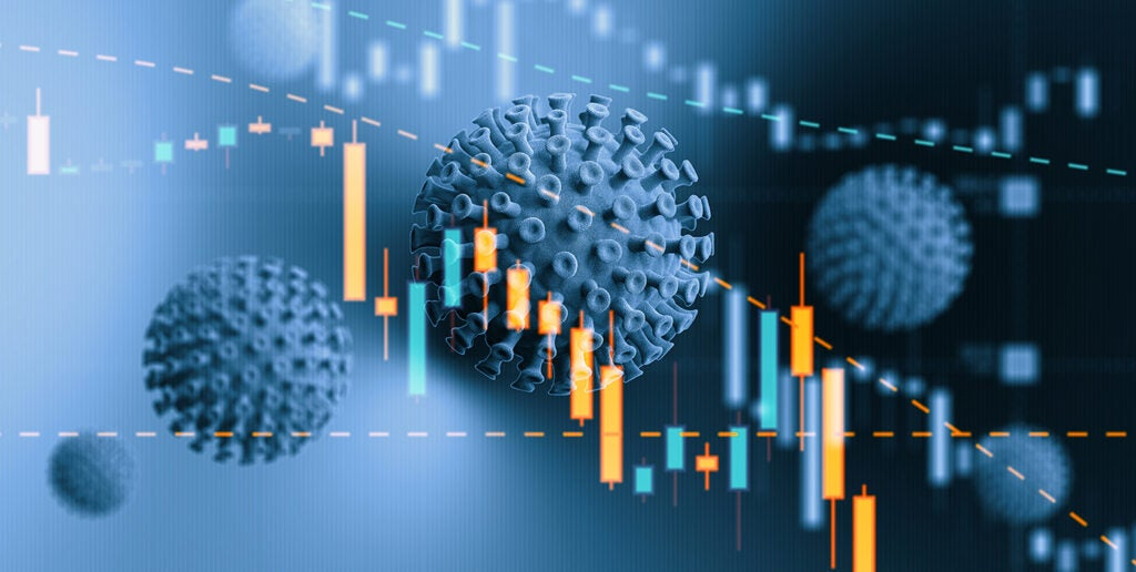 Blue Viruses over Financial Bar Graph - COVID-19 Stock Market and Finance Concept