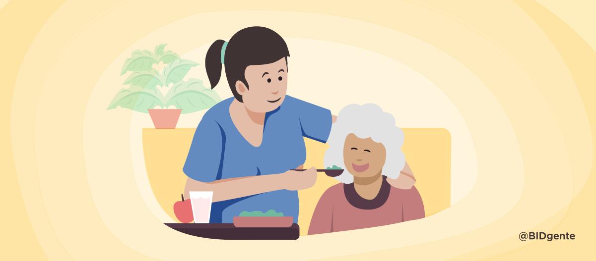 Mujeres que cuidan y trabajan doble