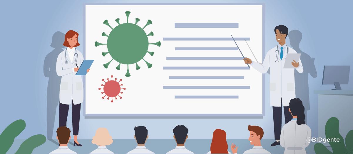 ilustración dos médicos muestran en una presentación medidas para combatir el coronavirus