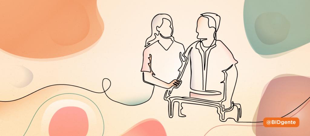 Ilustracion una cuidadora asiste a un adulto mayor con dependencia
