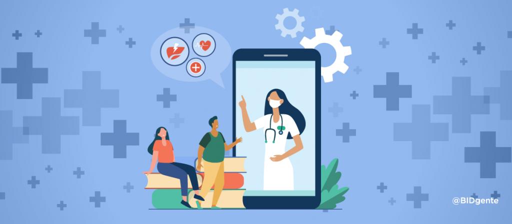 Ilustración, dos pacientes escuchan la palabra de una médica que habla desde una aplicación móvil de celular