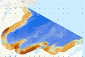 bathymetry and topography for Corozal Bay